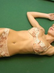 Anne Stripping Naked On A Pool Table - Picture 2