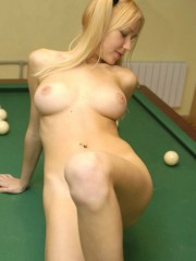 Anne Stripping Naked On A Pool Table - Picture 13